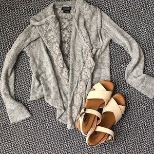 Lucky brand knit lace cardigan